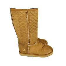 AIRWALK Quilted Cognac Brown Furry Shearling VEGAN Midcalf Boots Size 8.5 M BT1