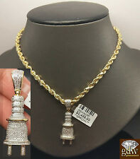 "Men's 10k Yellow Gold 0.53CT Diamond Plug Charm Pendent With 5 mm 24"" Rope Chain"