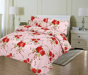Luxury Printed Polycotton Quilt  Duvet Cover set with pillow cases Hotel Quality