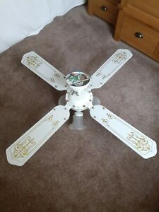 WHITE ELECTRIC CEILING FAN WITH LIGHTS