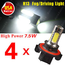4X White H13 LED 9008 6000K Projector 7.5W COB Fog Driving Light DRL Lamp