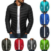Men's Winter Warm Quilted Jacket Lightweight Stand Collar Packable Padded Coat