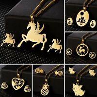 Women Stainless Steel Jewelry Set Gold Horse Necklace Earrings Wedding Jewellery