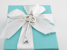 TIFFANY & CO SILVER TREFOIL KEY PENDANT CHARM POUCH INCLUDED