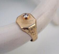 585 Gold & 0,22ct Brillant Antiker Herren Ring Goldring Siegelring 1920er Jahre