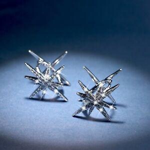 18k white gold made with SWAROVSKI crystal huggies Polaris north star earrings