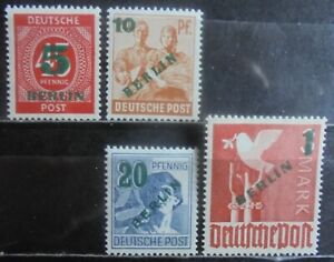 GERMANY (Berlin) 1949 Numeral & Pictorial Issue surcharged, Set of 4 MNG