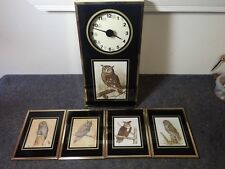 Vintage Set of 5 Framed Owl Lithographs Prints 3 by E. Rambow & 2 by Bob Hayes