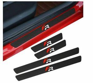 Seat FR Badge Carbon Fibre Plate Door Sill Protector Guard Stickers Leon Ibiza