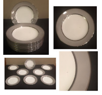 VINTAGE Sango China Bread Appetizer Dessert Plates PLATINA Gray Melody Set of 8