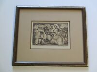 IRWIN HOFFMAN ETCHING VINTAGE ANTIQUE MUSICIAN MEXICAN MODERNISM WPA STYLE