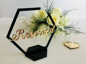Reserved Sign Reception Decor Hexagon Wedding Table Seating Signs Freestanding