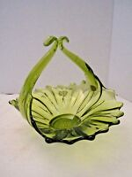 "Vintage Green Glass Basket Bowl Flower Design Made in Italy 6"" Studio"