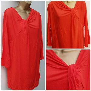 New Ladies Exstore Plus size Orange Summer Tunic T-Shirt Top Size: 12 - 22