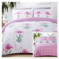 Flamingo Tropical Duvet Quilt Cover Reversible Girls Bedding ~ALL SIZES FREE P&P