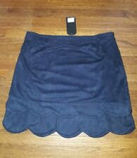 Nastygal suede navy blue scallop mini skirt L NWT