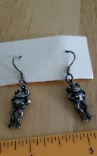 VINTAGE EPS SILVER Plated ? FROG FROGS DANGLE EARRINGS