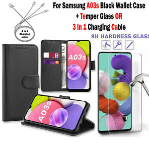Leather Wallet Case + Temper Glass OR Charging Cable For Samsung Galaxy A03s UK
