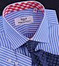 Men's Blue Striped Formal Business Dress Shirt Contrast Red Gingham Check Plaid
