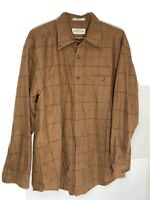 Men's Orvis Button Shirt Casual XL Brown Long Sleeve Plaid Cotton
