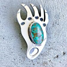 Artisan Sterling Silver Turquoise Bear Paw Pin and Pendant