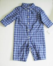 Ralph Lauren Baby Boys Plaid Jersey Lined Coverall Blue Multi Sz 3M - NWT