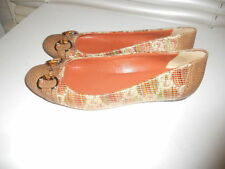 Authentic Gucci Italy ~ Buckle ~ Monogram Logo Canvas/Leather Ballet Flat 38 1/2