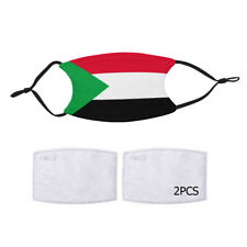 Reusable Face Mask 2 Filter Sudan Sudanese Flag Country Pride Patriotic National
