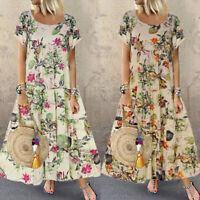 Women Oversize Casual Short Sleeve Boho Retro Cotton Linen Print Long Maxi Dress