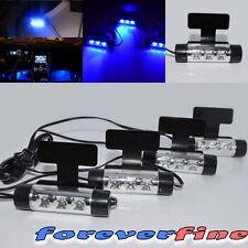 4 x3 Cigarette Plug 360 Rotatable Blue LED Auto Atmosphere Interior Lights
