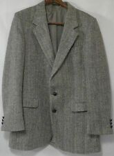 Harris Tweed mens blazer 42 vintage union made USA 2 leather buttons Coat Tails