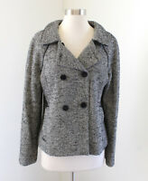 Banana Republic Gray Black Tweed Double Breasted Blazer Jacket Wool Size 10