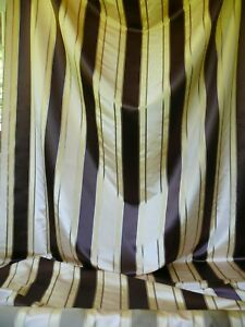 BY YD SCALAMANDRE 100% SILK SATIN STRIPE DEEP CHOCOLATE CHAMPAGNE TAUPE #1243