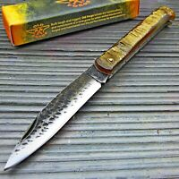 Old Forge Genuine Ram's Horn Handle Black Hammered Blade Folding Pocket Knife