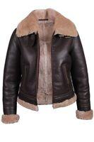 Brandslock Womens Leather Genuine Shearling Sheepskin Flying  Aviation Jacket