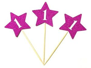 12 x Birthday Girl First (1st) Birthday Stars With Age Cup Cake Topper, Picks