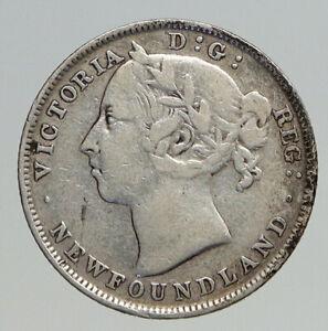 1900 CANADA NEWFOUNDLAND UK Queen VICTORIA Antique Silver 20 Cents Coin i93799