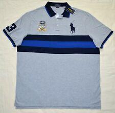 New XXL Men Polo Ralph Lauren Big Pony mesh shirt top gray grey classic fit 2XL
