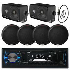 """Black Marine 3.5"""" 200W Speakers,6.5"""" Speakers, Antenna,Black USB Bluetooth Radio"""