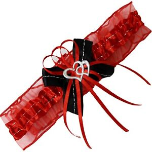Braut-Strumpfband mit Silbernaht 2 Herzchen und Schleifen rot schwarz  S- XXL EU