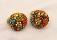 Vintage D'ORLAN Rhinestone And Seed Bead Earrings