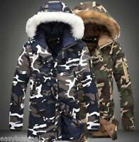 Winter Mens Thicken Camo Jacket Coat Fur Hooded Cotton Padded Slim Outwear Parka