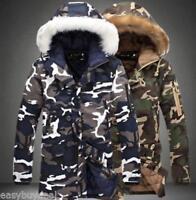 Mens Camo Warm Fur Hooded Winter Military Coat Long Parka Thicken Winter Jacket