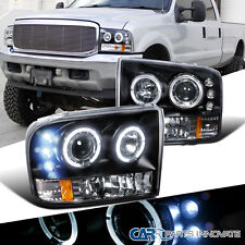 Ford F250 F350 F450 F550 Super Duty LED Halo Projector Headlights Lamp Black