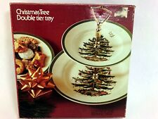 Spode Christmas Tree Double Tier Tray Dessert Platter Plate in Box England