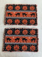 2 Vintage Halloween Placemat Black Cat Jack Lantern Tapestry 18x13 DoubleSided