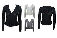 New Imported Women Ladies Long Sleeve Knitted Peplum Frill Blazer Cardigan Shrug