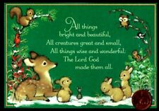 Vintage Hallmark Christmas Deer Rabbit Mouse Squirrel Owl - Small Greeting Card