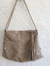 Brio Tan Perforated Leather Shoulder Bag
