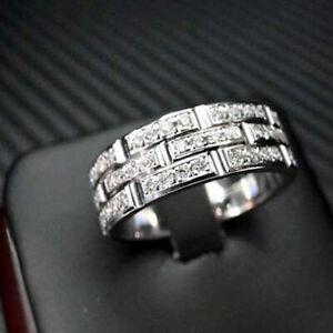 Men's Band Engagement & Anniversary Fancy Ring 3.36 CT Diamond 14K White Gold